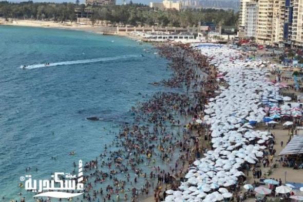 إقبال تاريخي على شواطئ الإسكندرية ثالث أيام عيد الفطر المبارك