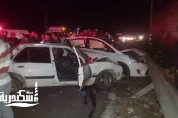 مصرع شخص واصابه 10 اخرين في حادث تصادم قبل كوبرى الكيلو 21 باتجاه سيدى كرير